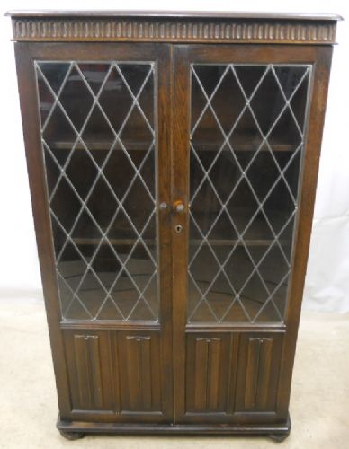 Priory Dark Elm Standing Bookcase with Leaded Glazed Doors